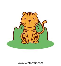cute little tiger animal in field character
