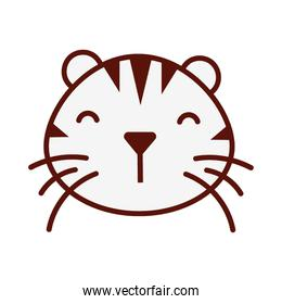 cute little tiger head animal character