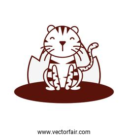 cute little tiger animal in field character line style