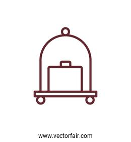 suitcase travel accessory in hotel cart