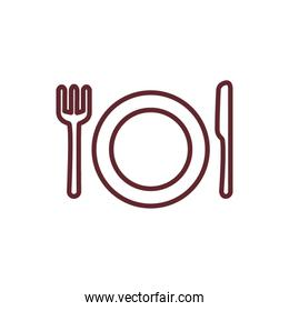 dish with fork and knife cutlery isolated icon