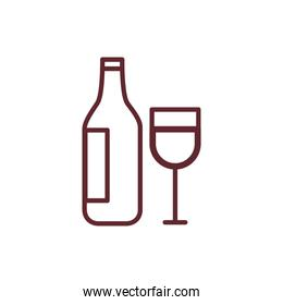 wine bottle and cup linear style icons