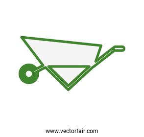 wheelbarrow gardening tool isolated icon