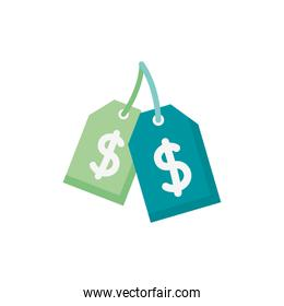 commercial tags with money dollar symbol