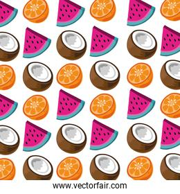 fresh tropical and exotic fruits pattern