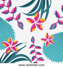 tropical heliconias and flowers exotic pattern