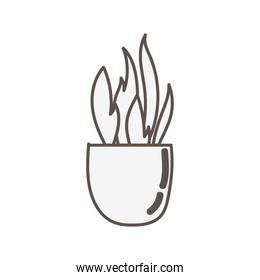 house plant in ceramic pot linear style icon