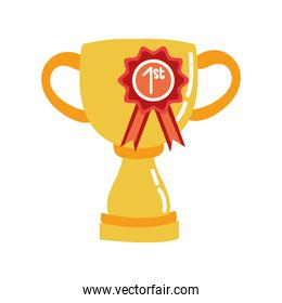 trophy cup award with medal first place