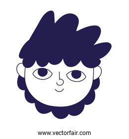young man face cartoon character portrait icon