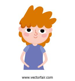 portrait young man cartoon character curly hair