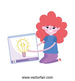 cute girl with video creativity social media, isolated icon