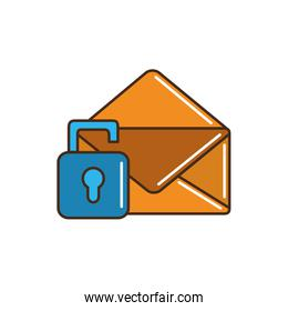 envelope mail letter security padlock unlock line and fill
