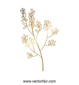 branch with leafs plant golden decoration