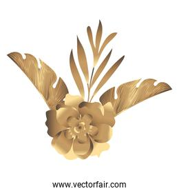 tropical heliconia and flower exotic golden decoration