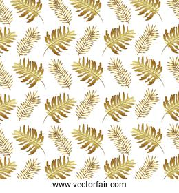 tropical leafs palms golden natural pattern