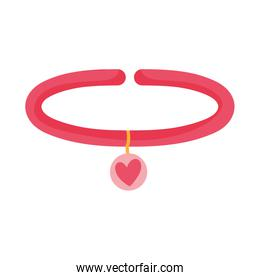 collar with medal heart accessory for pets