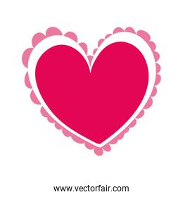 heart with lace isolated icon