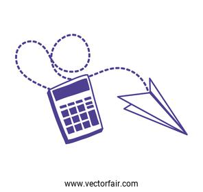 calculator math with paper airplane