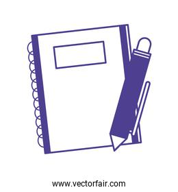notebook with pen isolated icon