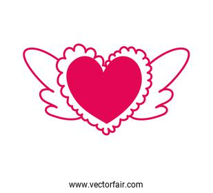 heart love with wings icon