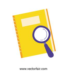 notebook school supply with magnifying glass
