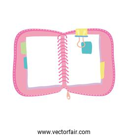pink diary notebook school supply isolated icon