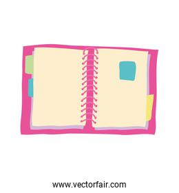 notebook pink school supply isolated icon