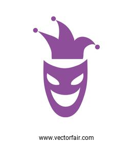 mardi gras theater mask with jester hat