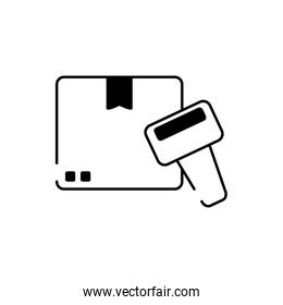 cardboard box scanner cargo delivery line style icon