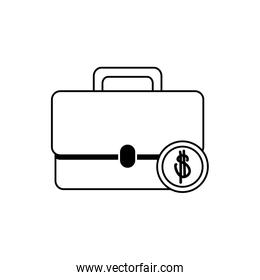 money business financial briefcase coin line style icon