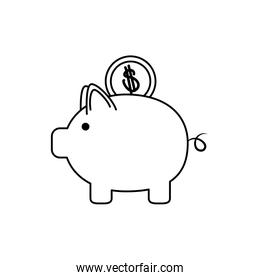 piggy bank with coin money business financial line style icon