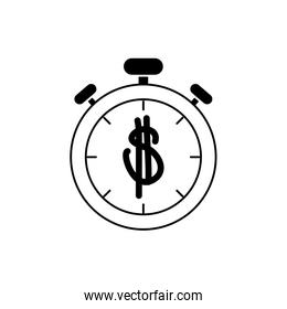 money business financial stopwatch timer line style icon