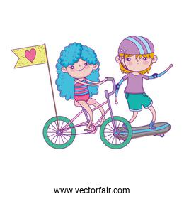 happy childrens day, kids riding bike and skateboards in the park