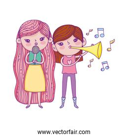 happy childrens day, girls sing with microphone and trumpet outdoors