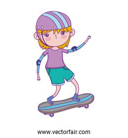 little boy riding skateboard with protection equipment cartoon
