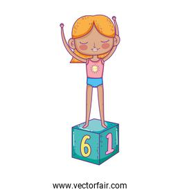 happy childrens day, girl playing on block toy cartoon