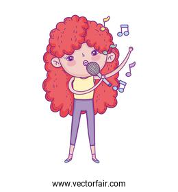 little girl singing with microphone cartoon character