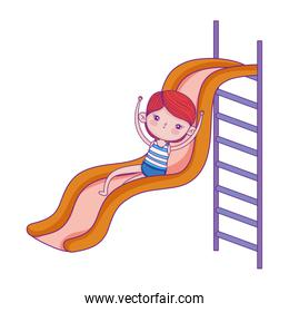 happy childrens day, little girl playing slide vartoon character