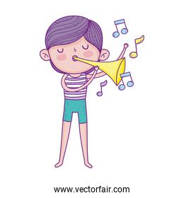 little musician boy playing music with trumpet cartoon