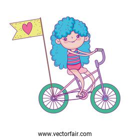happy childrens day, little riding bike with flag love cartoon over white