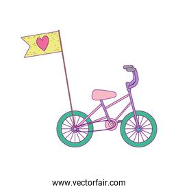 little bicycle transport with flag cartoon