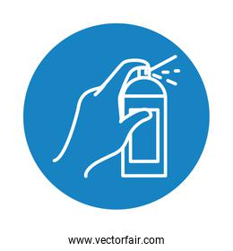 hand with spray can icon, block style