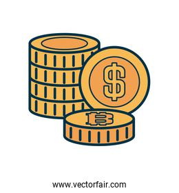 stack of money coins icon, fill and line style