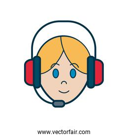 Operator woman with headphone icon, line and fill style