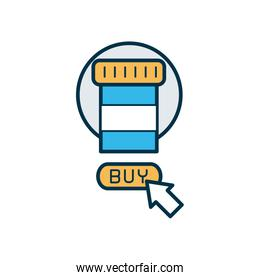 shopping online concept, medication pill bottle and web cursor icon, line and fill style