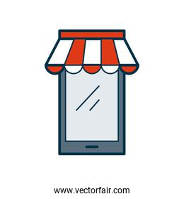 shopping online concept, smartphone with striped tent icon, fill and line style