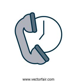 call service concept, phone and clock icon, fill and line style