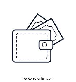 wallet with money bills icon, line style