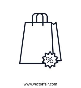 shopping bag with discount stamp icon, line style