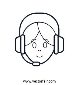 Operator woman with headphone icon, line style